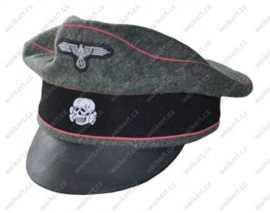 "German officer's "" crusher "" visor cap - WAFFEN SS - armored troops"