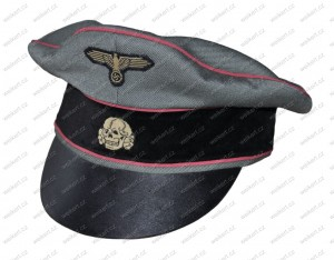 "German officer's "" crusher "" cap ( gabardine ) - WAFFEN SS - armored troops"